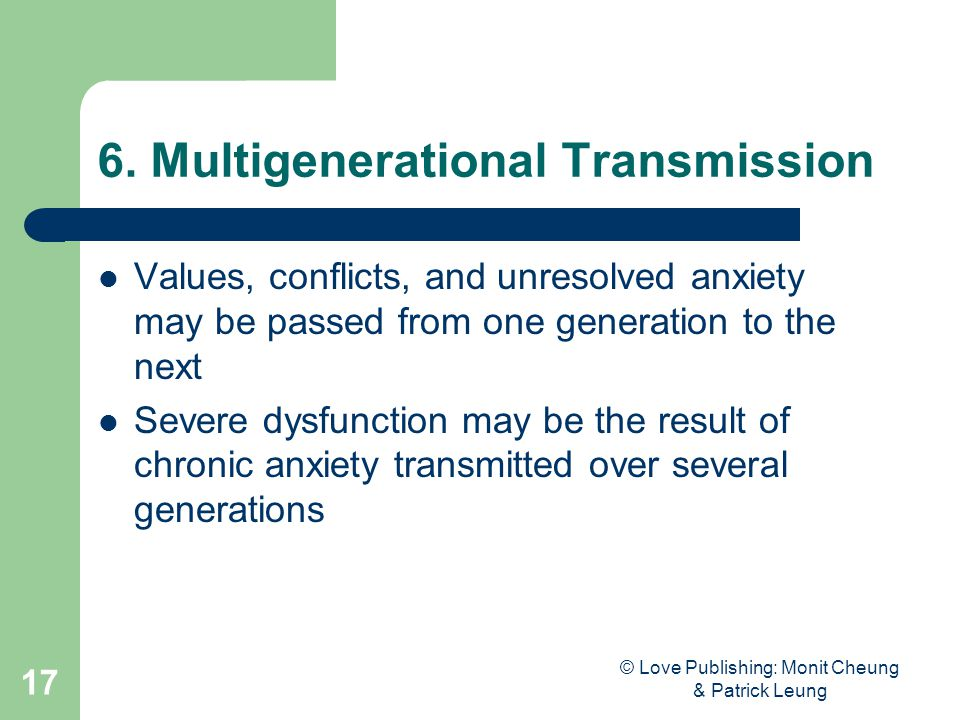 © Love Publishing: Monit Cheung & Patrick Leung 17 6. Multigenerational Transmission Values, conflicts, and unresolved anxiety may be passed from one