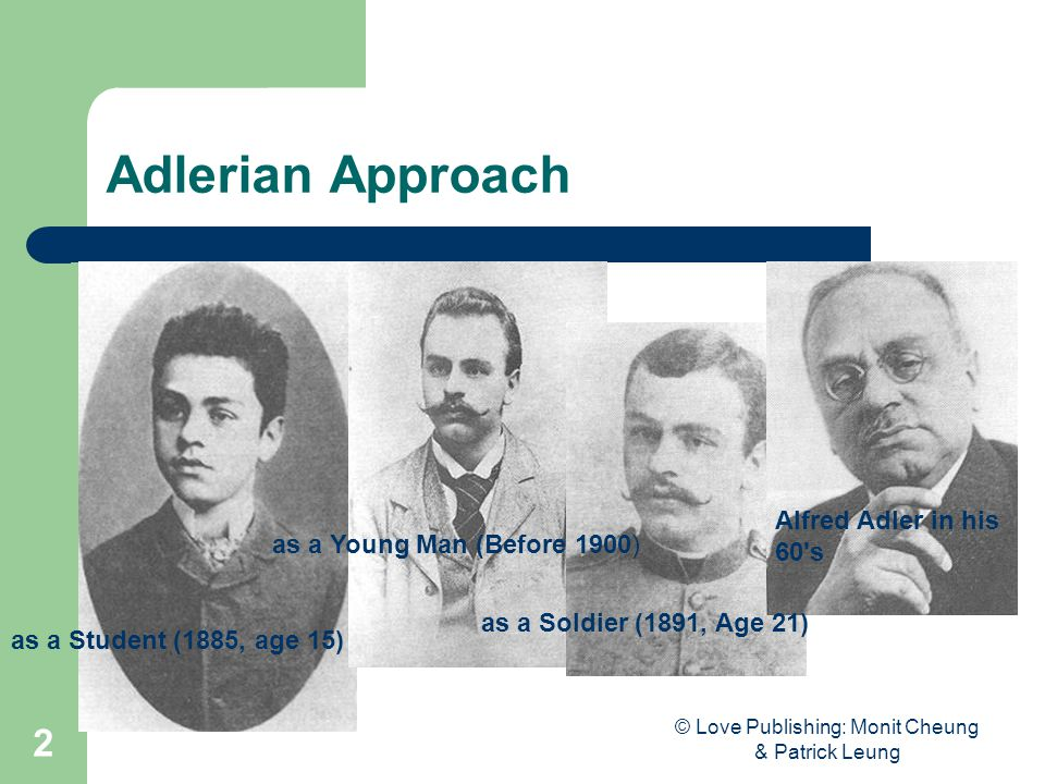 © Love Publishing: Monit Cheung & Patrick Leung 2 Adlerian Approach as a Student (1885, age 15) as a Young Man (Before 1900) as a Soldier (1891, Age 21) Alfred Adler in his 60 s