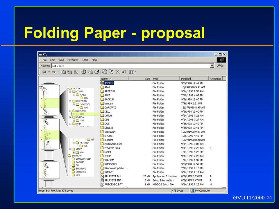 GVU 11/2000 31 Folding Paper - proposal