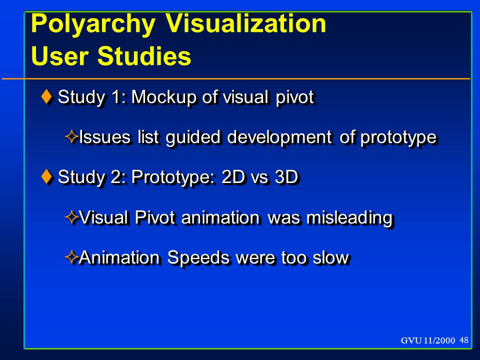 GVU 11/2000 48 Polyarchy Visualization User Studies  Study 1: Mockup of visual pivot  Issues list guided development of prototype  Study 2: Prototype: 2D vs 3D  Visual Pivot animation was misleading  Animation Speeds were too slow  Study 1: Mockup of visual pivot  Issues list guided development of prototype  Study 2: Prototype: 2D vs 3D  Visual Pivot animation was misleading  Animation Speeds were too slow