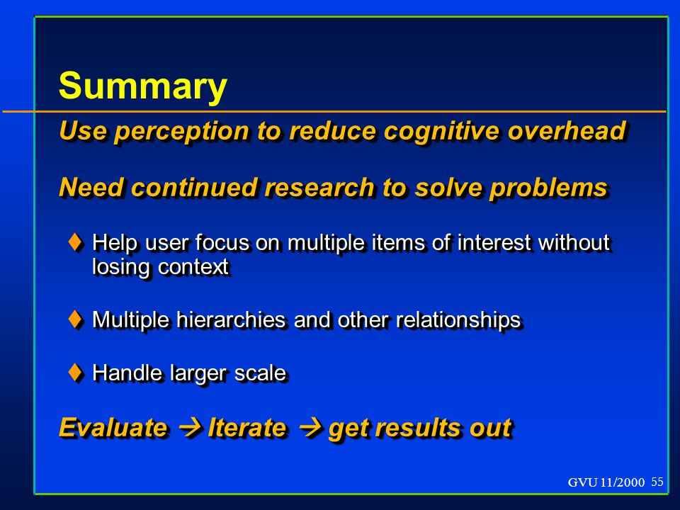 GVU 11/2000 55 Summary Use perception to reduce cognitive overhead Need continued research to solve problems  Help user focus on multiple items of interest without losing context  Multiple hierarchies and other relationships  Handle larger scale Evaluate  Iterate  get results out Use perception to reduce cognitive overhead Need continued research to solve problems  Help user focus on multiple items of interest without losing context  Multiple hierarchies and other relationships  Handle larger scale Evaluate  Iterate  get results out