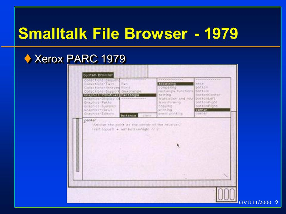 GVU 11/2000 9 Smalltalk File Browser - 1979  Xerox PARC 1979