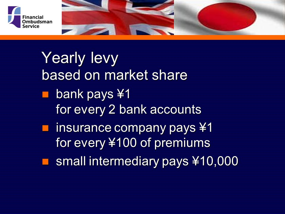 Yearly levy based on market share bank pays ¥1 for every 2 bank accounts bank pays ¥1 for every 2 bank accounts insurance company pays ¥1 for every ¥100 of premiums insurance company pays ¥1 for every ¥100 of premiums small intermediary pays ¥10,000 small intermediary pays ¥10,000
