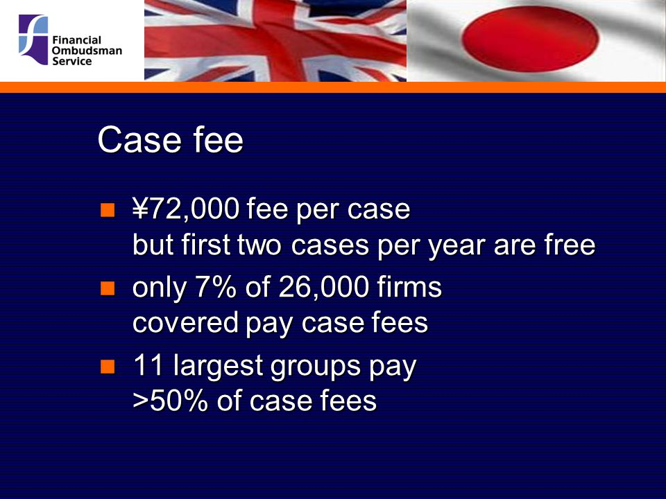 Case fee ¥72,000 fee per case but first two cases per year are free ¥72,000 fee per case but first two cases per year are free only 7% of 26,000 firms covered pay case fees only 7% of 26,000 firms covered pay case fees 11 largest groups pay >50% of case fees 11 largest groups pay >50% of case fees