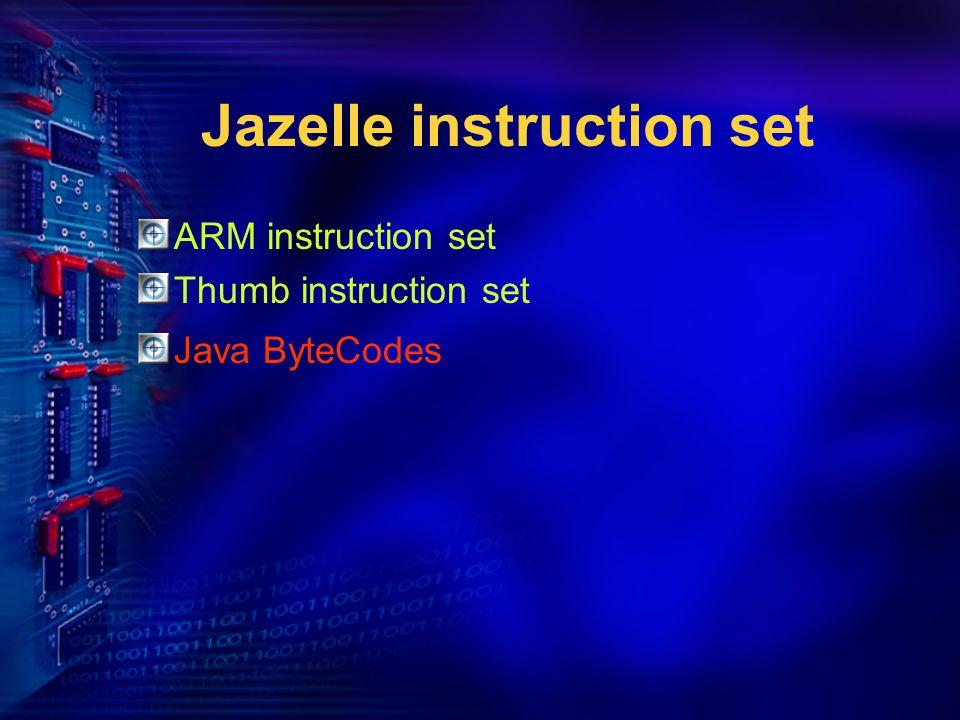 Jazelle instruction set ARM instruction set Thumb instruction set Java ByteCodes