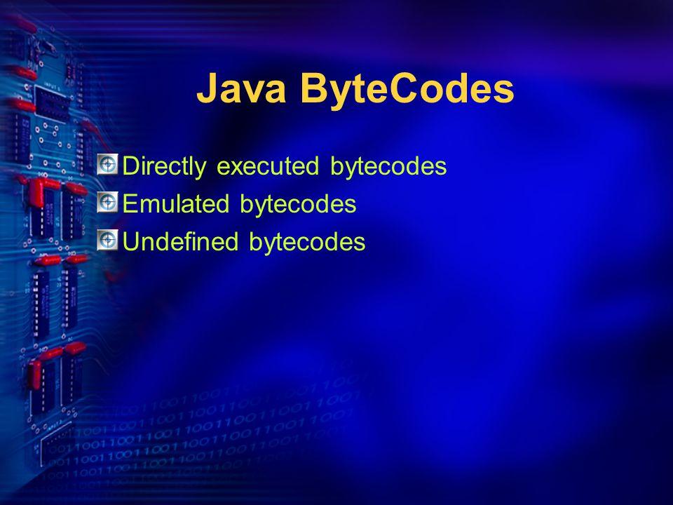 Directly executed bytecodes Emulated bytecodes Undefined bytecodes