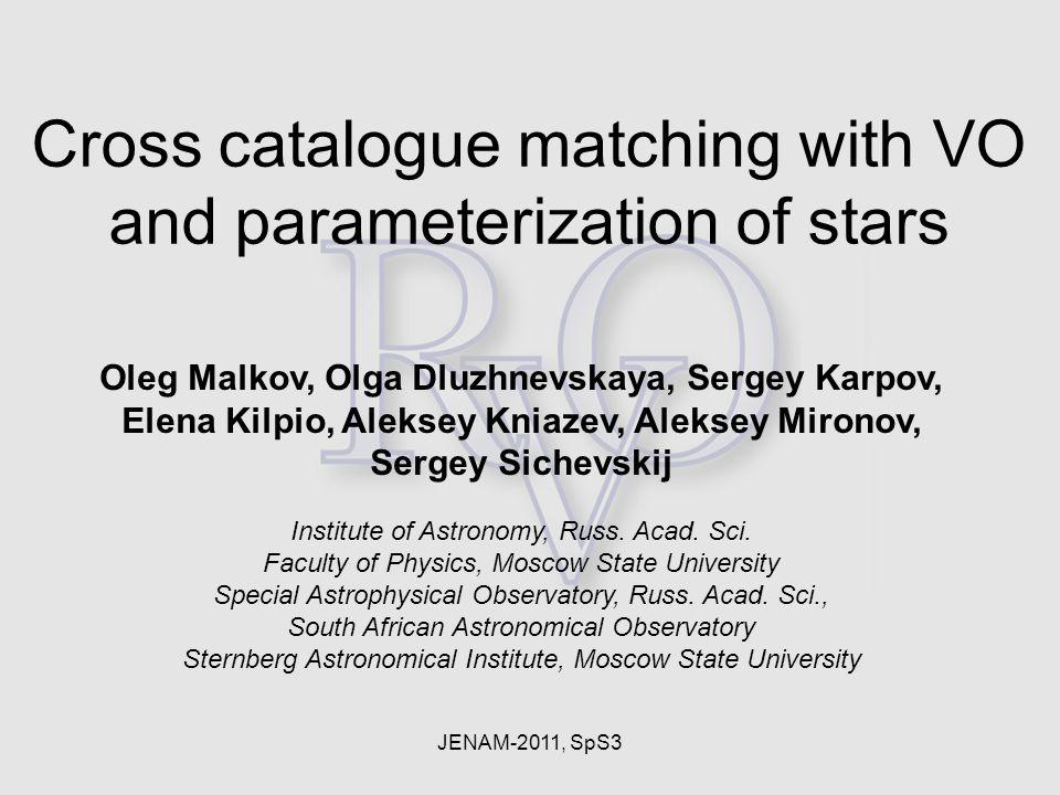 JENAM-2011, SpS3 Oleg Malkov, Olga Dluzhnevskaya, Sergey Karpov, Elena Kilpio, Aleksey Kniazev, Aleksey Mironov, Sergey Sichevskij Institute of Astronomy, Russ.