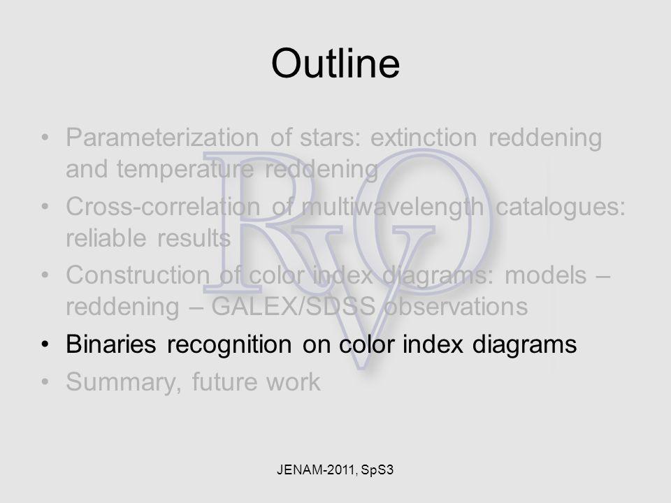 JENAM-2011, SpS3 Outline Parameterization of stars: extinction reddening and temperature reddening Cross-correlation of multiwavelength catalogues: re