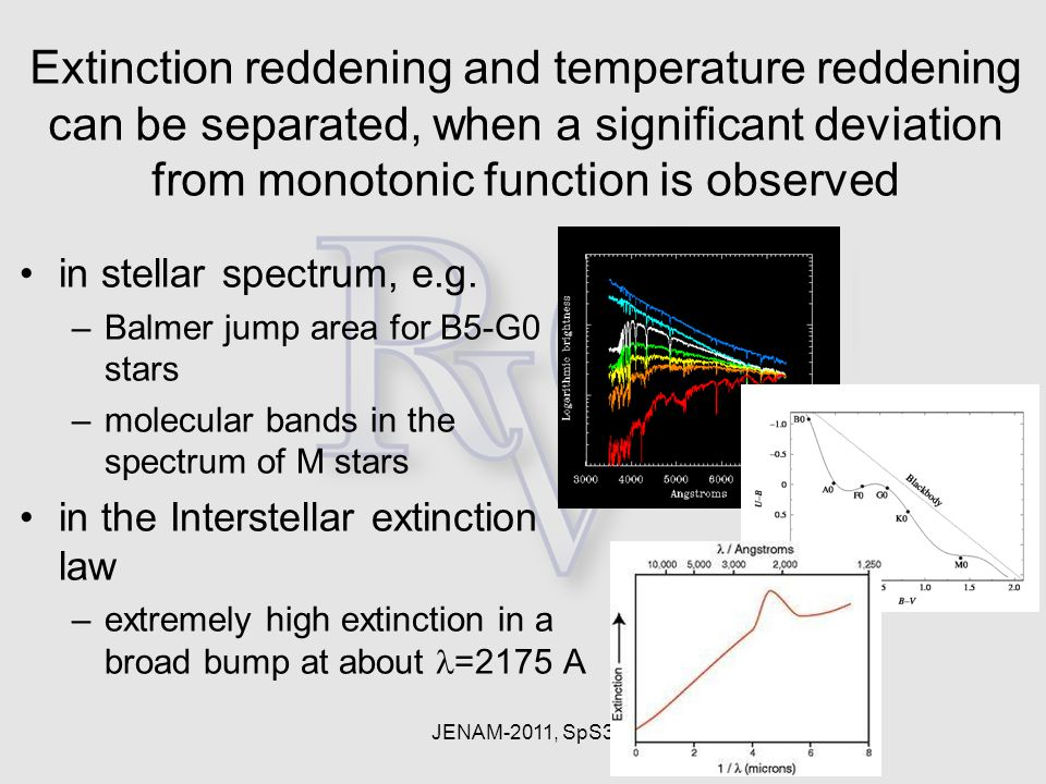 JENAM-2011, SpS3 Extinction reddening and temperature reddening can be separated, when a significant deviation from monotonic function is observed in
