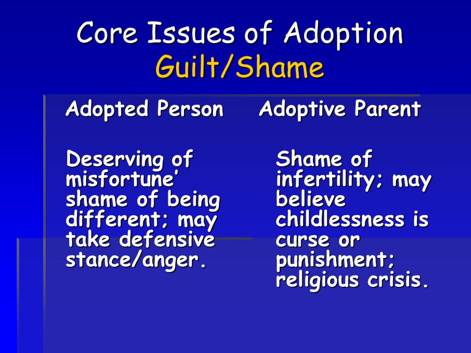 Core Issues of Adoption Guilt/Shame Adopted Person Deserving of misfortune' shame of being different; may take defensive stance/anger. Adoptive Parent