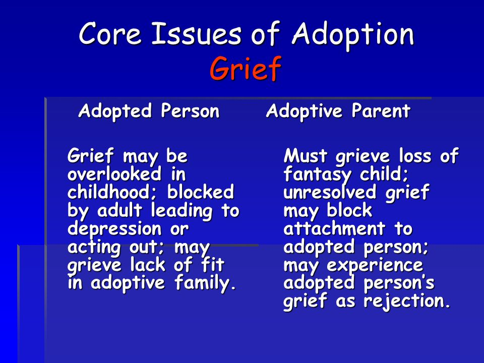 Core Issues of Adoption Grief Adopted Person Grief may be overlooked in childhood; blocked by adult leading to depression or acting out; may grieve la