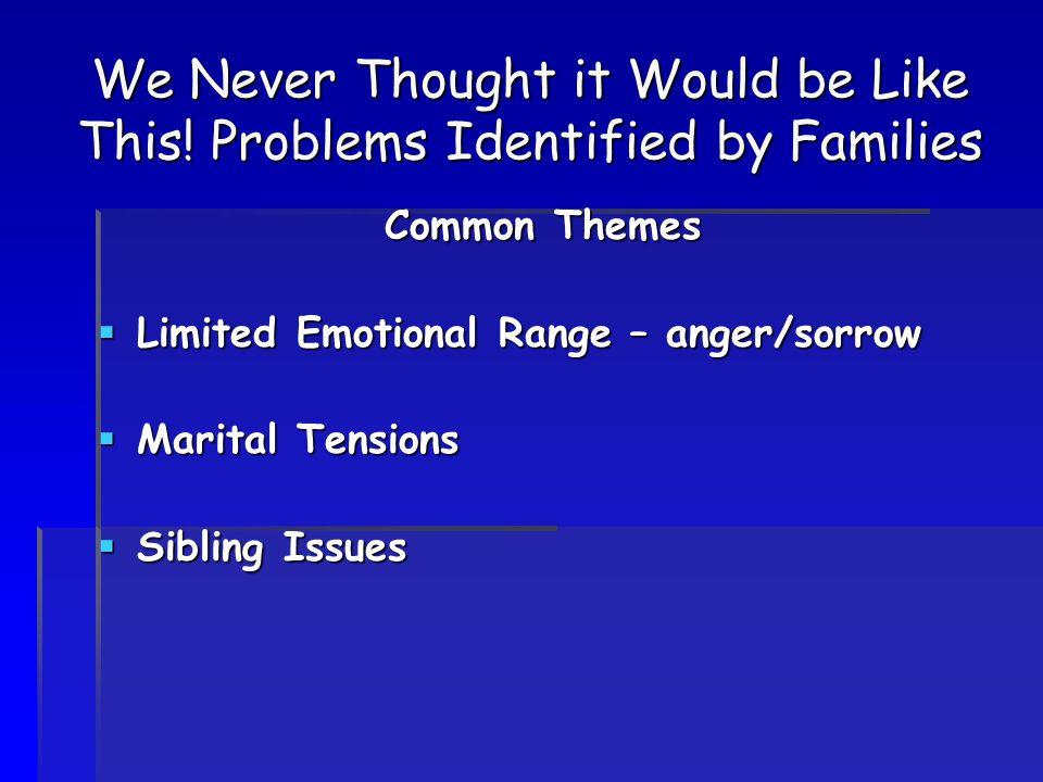 We Never Thought it Would be Like This! Problems Identified by Families Common Themes  Limited Emotional Range – anger/sorrow  Marital Tensions  Si
