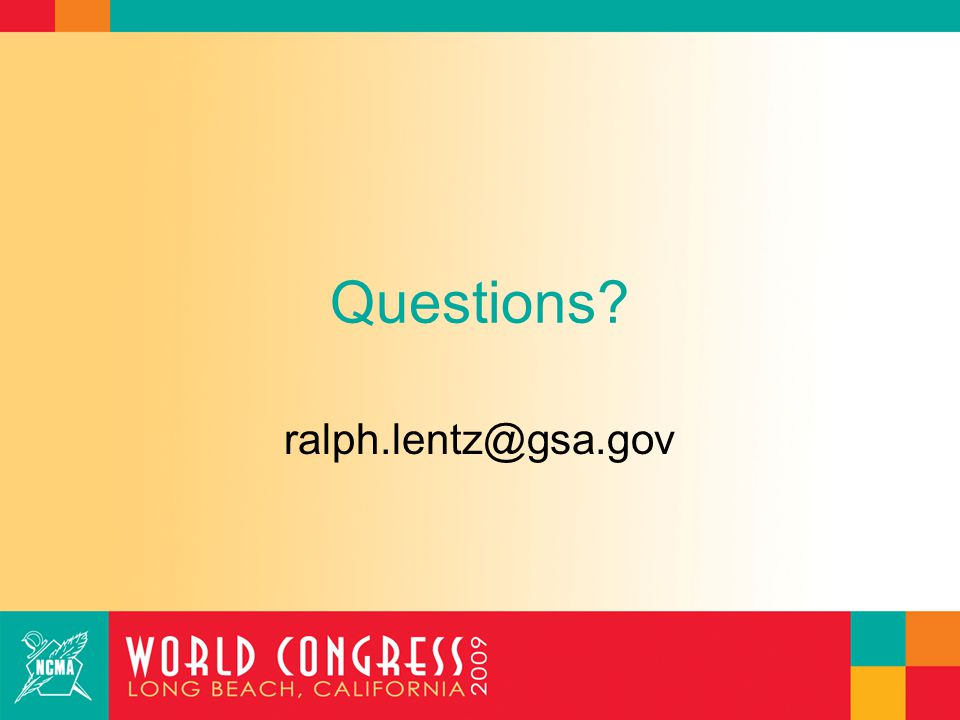 Questions ralph.lentz@gsa.gov