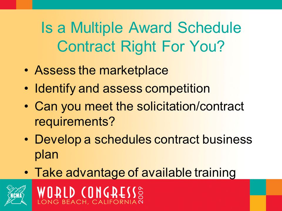 Is a Multiple Award Schedule Contract Right For You.
