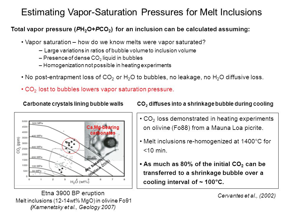 Estimating Vapor-Saturation Pressures for Melt Inclusions Etna 3900 BP eruption Melt inclusions (12-14wt% MgO) in olivine Fo91 (Kamenetsky et al., Geology 2007) Etna 2001,2002 Ca,Mg-bearing carbonates Arc basalts (Wallace 2005) CO 2 diffuses into a shrinkage bubble during cooling CO 2 loss demonstrated in heating experiments on olivine (Fo88) from a Mauna Loa picrite.