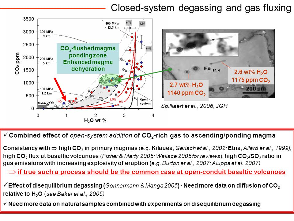 Closed-system degassing and gas fluxing Combined effect of open-system addition of CO 2 -rich gas to ascending/ponding magma Consistency with  high CO 2 in primary magmas (e.g.