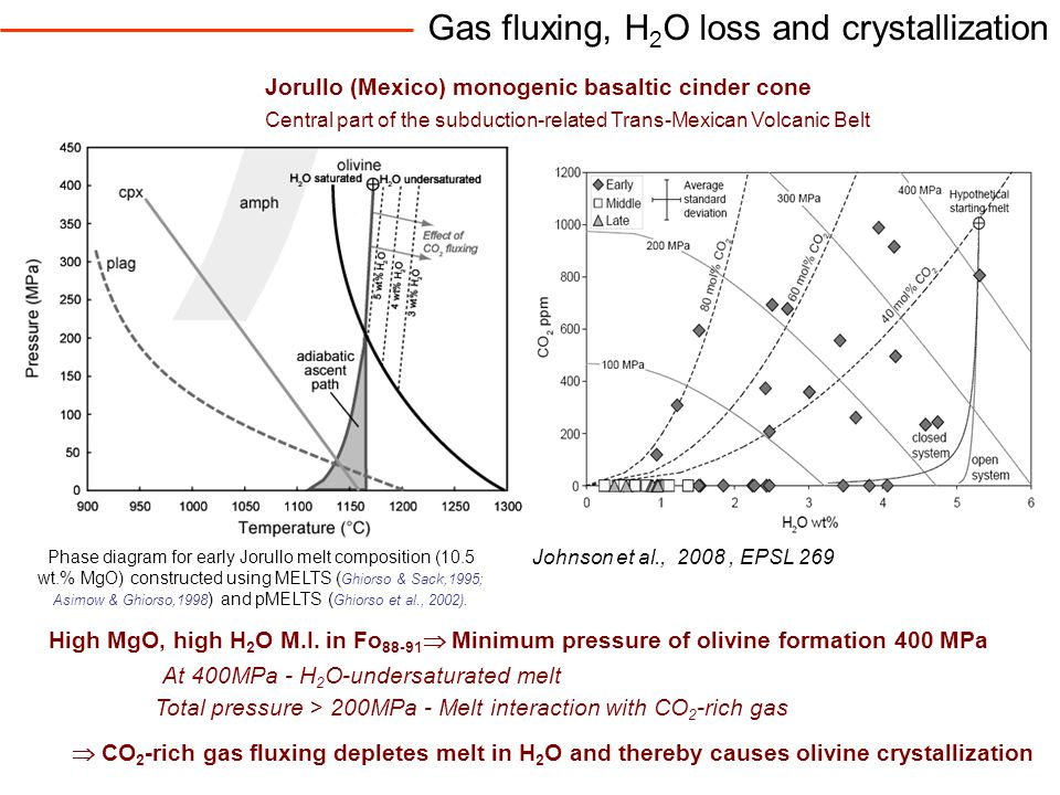Gas fluxing, H 2 O loss and crystallization Johnson et al., 2008, EPSL 269 High MgO, high H 2 O M.I.