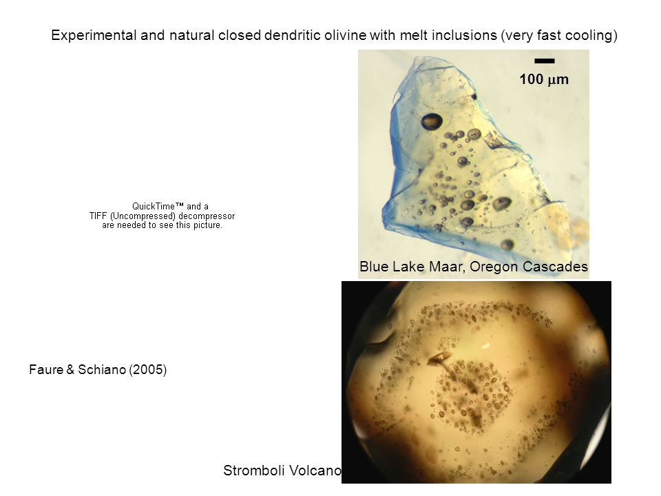 100  m Blue Lake Maar, Oregon Cascades Experimental and natural closed dendritic olivine with melt inclusions (very fast cooling) Stromboli Volcano Faure & Schiano (2005)