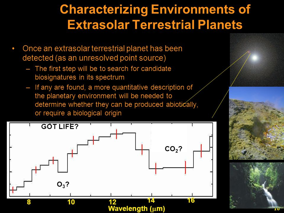 10 Characterizing Environments of Extrasolar Terrestrial Planets Once an extrasolar terrestrial planet has been detected (as an unresolved point source) –The first step will be to search for candidate biosignatures in its spectrum –If any are found, a more quantitative description of the planetary environment will be needed to determine whether they can be produced abiotically, or require a biological origin 81012 1416 Wavelength (  m) O3 O3.