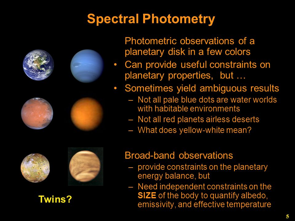 5 Spectral Photometry Photometric observations of a planetary disk in a few colors Can provide useful constraints on planetary properties, but … Sometimes yield ambiguous results –Not all pale blue dots are water worlds with habitable environments –Not all red planets airless deserts –What does yellow-white mean.