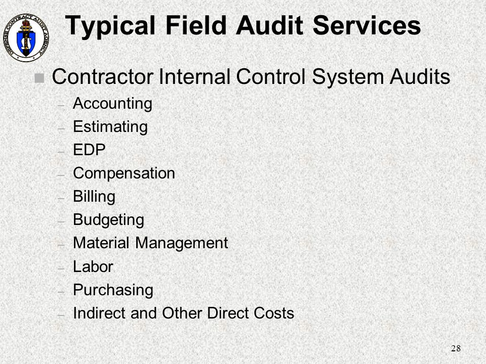 28 Typical Field Audit Services n Contractor Internal Control System Audits – Accounting – Estimating – EDP – Compensation – Billing – Budgeting – Mat