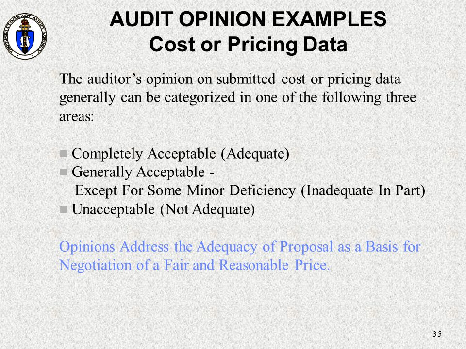 35 AUDIT OPINION EXAMPLES Cost or Pricing Data The auditor's opinion on submitted cost or pricing data generally can be categorized in one of the foll