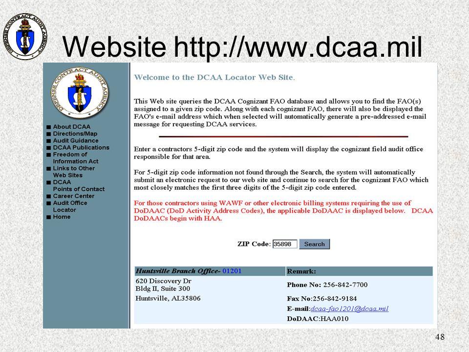 48 Website http://www.dcaa.mil