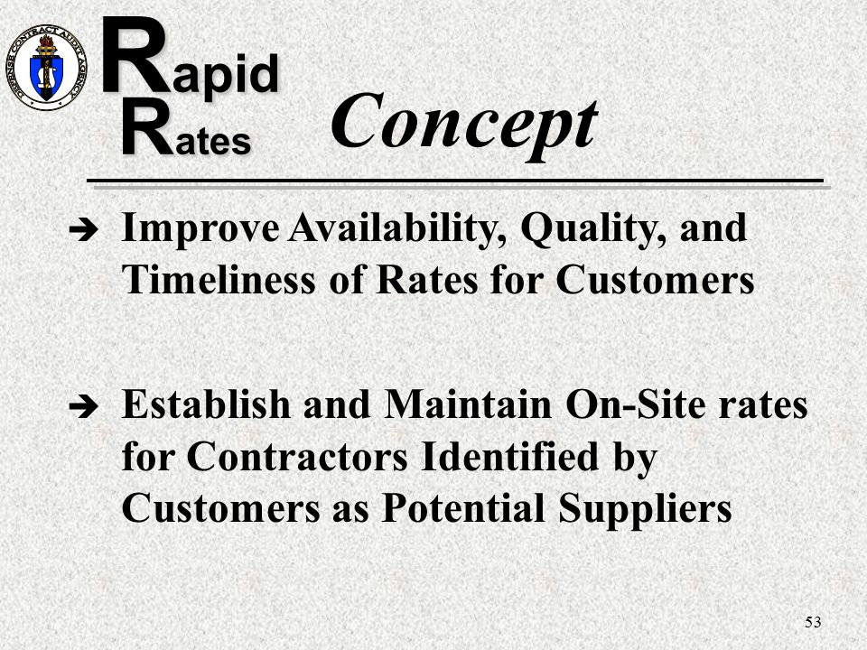 53 R apid R ates Concept è Improve Availability, Quality, and Timeliness of Rates for Customers è Establish and Maintain On-Site rates for Contractors