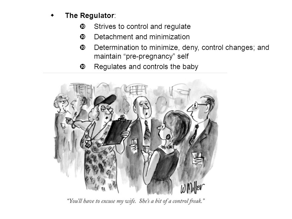 " The Regulator:  Strives to control and regulate  Detachment and minimization  Determination to minimize, deny, control changes; and maintain ""pre"