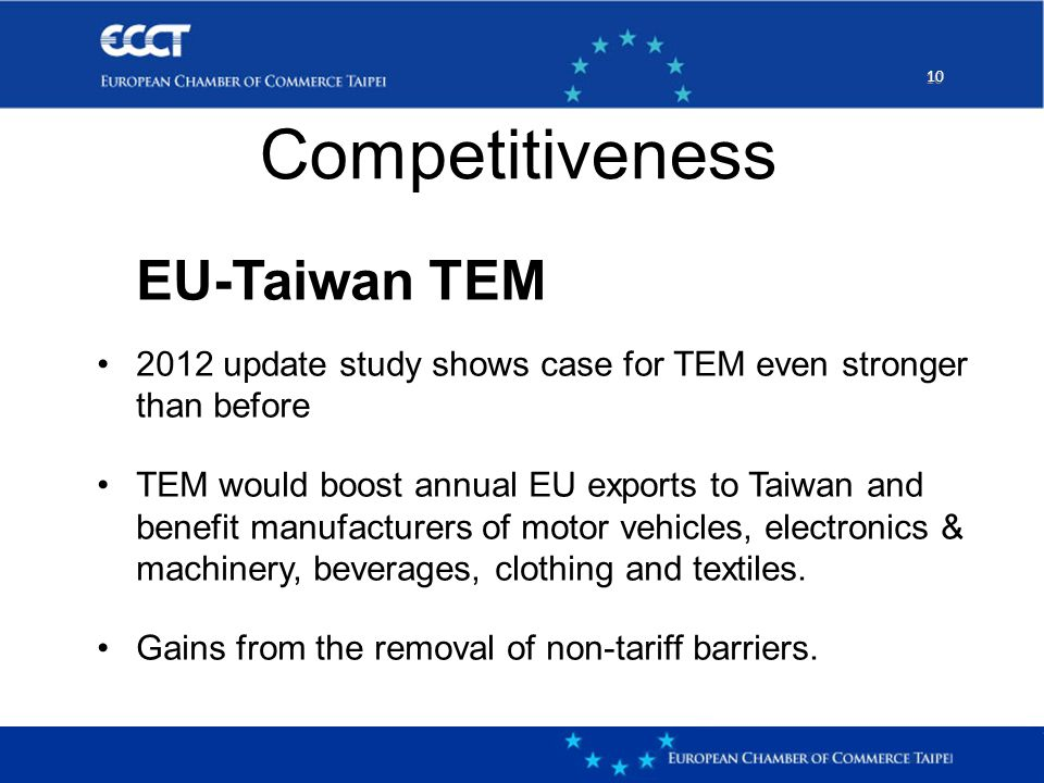 10 EU-Taiwan TEM 2012 update study shows case for TEM even stronger than before TEM would boost annual EU exports to Taiwan and benefit manufacturers of motor vehicles, electronics & machinery, beverages, clothing and textiles.