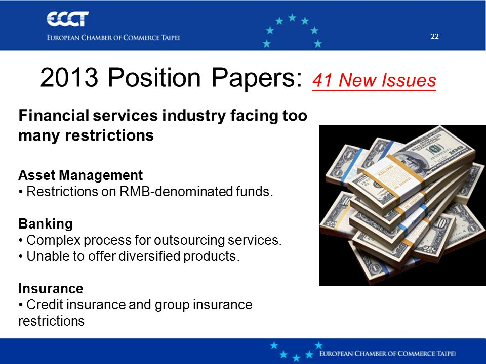 22 2013 Position Papers: 41 New Issues Financial services industry facing too many restrictions Asset Management Restrictions on RMB-denominated funds.