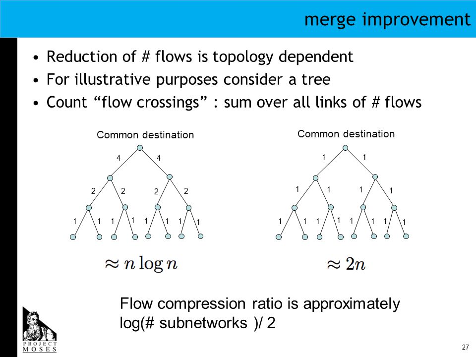 27 merge improvement Reduction of # flows is topology dependent For illustrative purposes consider a tree Count flow crossings : sum over all links of # flows Common destination 111 1 1 11 1 2 2 2 4 2 4 111 1 1 11 1 1 11 1 11 Flow compression ratio is approximately log(# subnetworks )/ 2