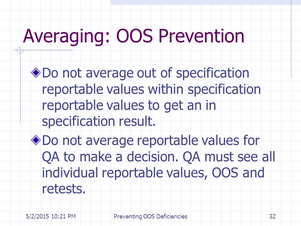 5/2/2015 10:35 PMPreventing OOS Deficiencies32 Averaging: OOS Prevention Do not average out of specification reportable values within specification re