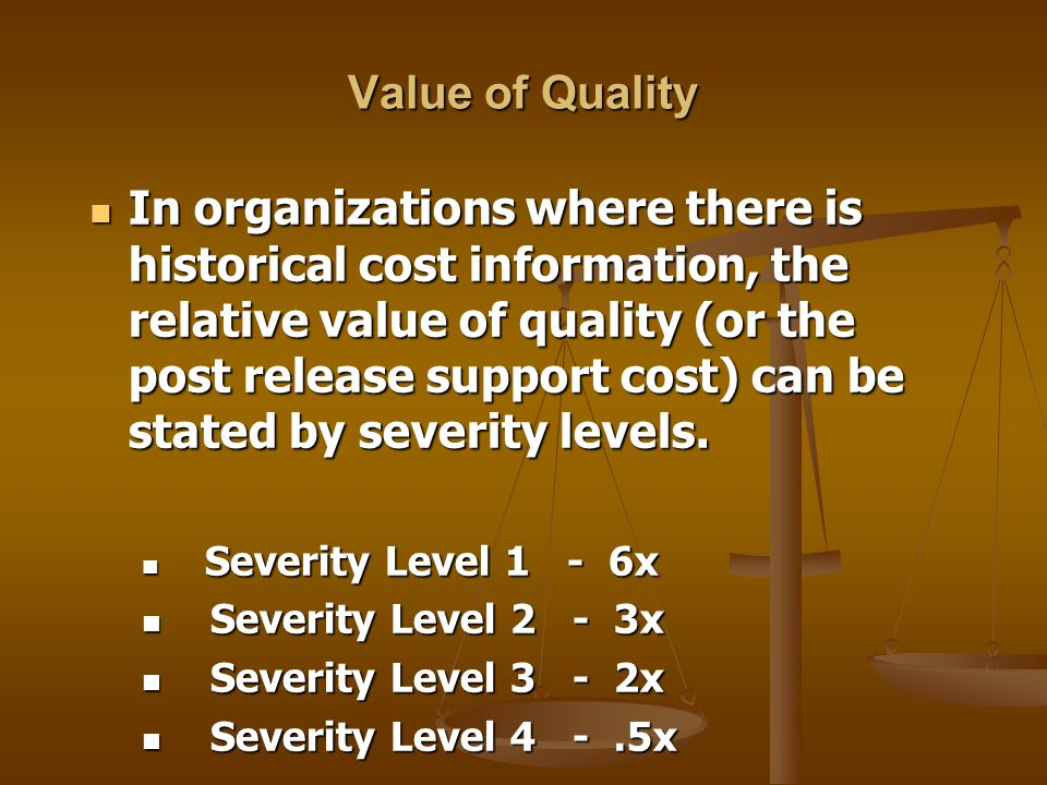 Value of Quality In organizations where there is historical cost information, the relative value of quality (or the post release support cost) can be stated by severity levels.