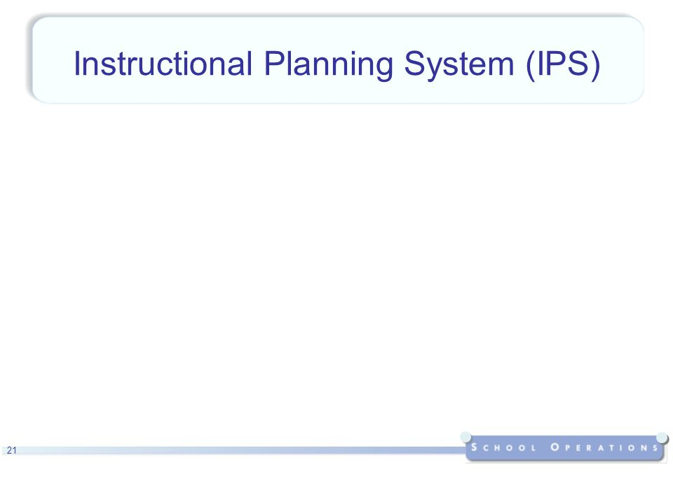 21 Instructional Planning System (IPS)