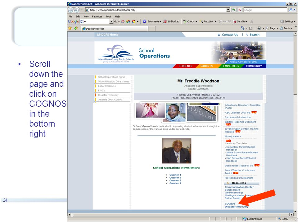 24 Scroll down the page and click on COGNOS in the bottom right