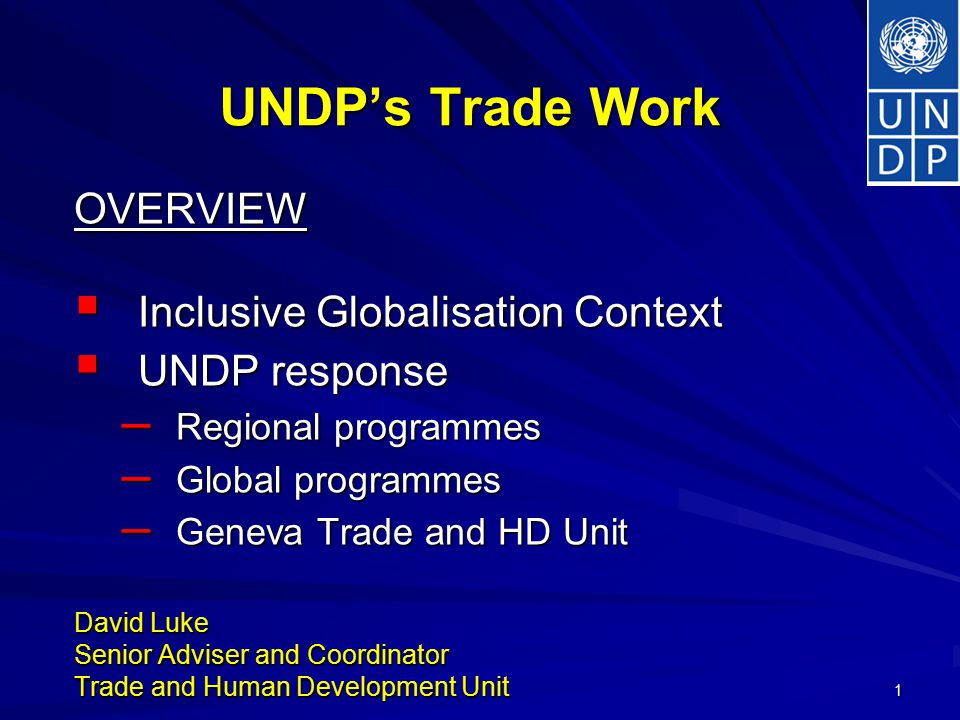 1 UNDP's Trade Work OVERVIEW  Inclusive Globalisation Context  UNDP response – Regional programmes – Global programmes – Geneva Trade and HD Unit David Luke Senior Adviser and Coordinator Trade and Human Development Unit