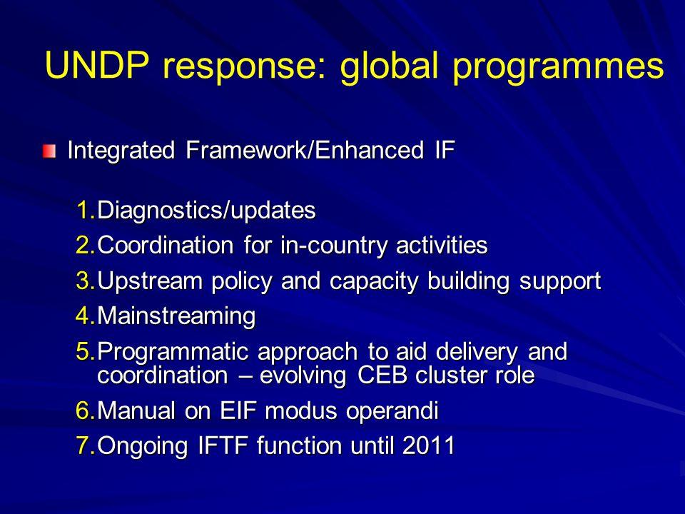 UNDP response: global programmes  Aid for Trade  Diagnostics e.g.
