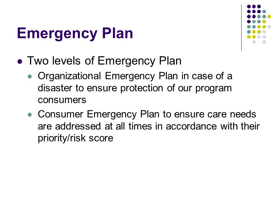 Emergency Plan Two levels of Emergency Plan Organizational Emergency Plan in case of a disaster to ensure protection of our program consumers Consumer Emergency Plan to ensure care needs are addressed at all times in accordance with their priority/risk score