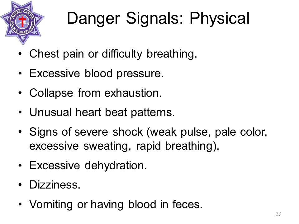 Danger Signals: Physical Chest pain or difficulty breathing.