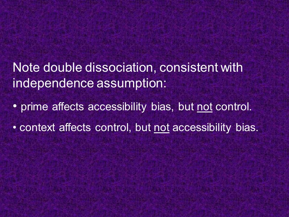 Note double dissociation, consistent with independence assumption: prime affects accessibility bias, but not control.
