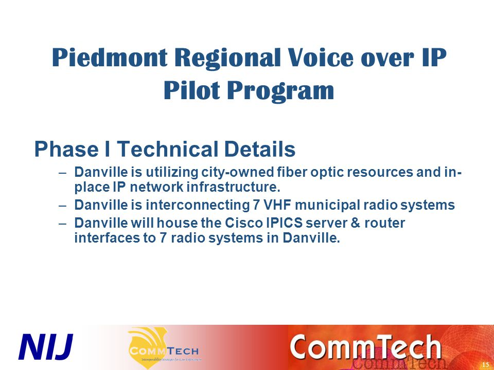 15 Piedmont Regional Voice over IP Pilot Program Phase I Technical Details –Danville is utilizing city-owned fiber optic resources and in- place IP network infrastructure.