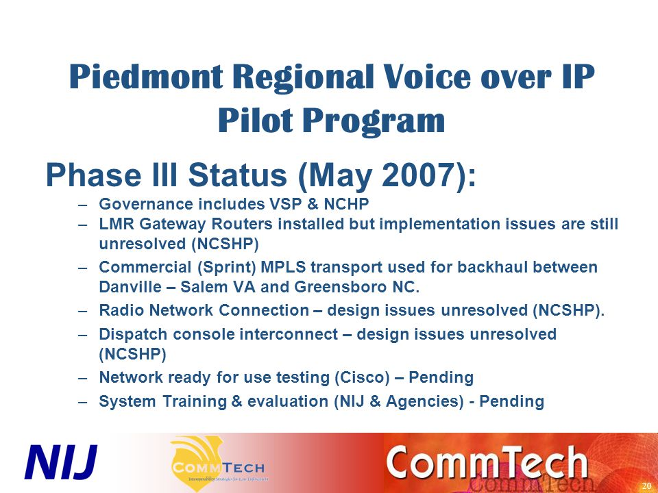 20 Piedmont Regional Voice over IP Pilot Program Phase III Status (May 2007): –Governance includes VSP & NCHP –LMR Gateway Routers installed but implementation issues are still unresolved (NCSHP) –Commercial (Sprint) MPLS transport used for backhaul between Danville – Salem VA and Greensboro NC.