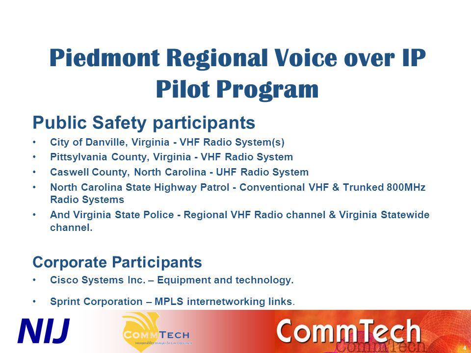 5 Piedmont Regional Voice over IP Pilot Program –CommTech's Role –Assist with formulating Regional Governance.