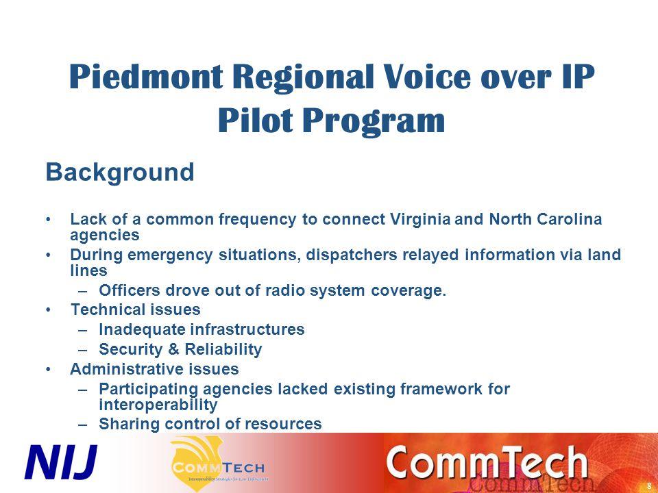 9 Piedmont Regional Voice over IP Pilot Program - Goals Administrative –Establish multi-agency governance.