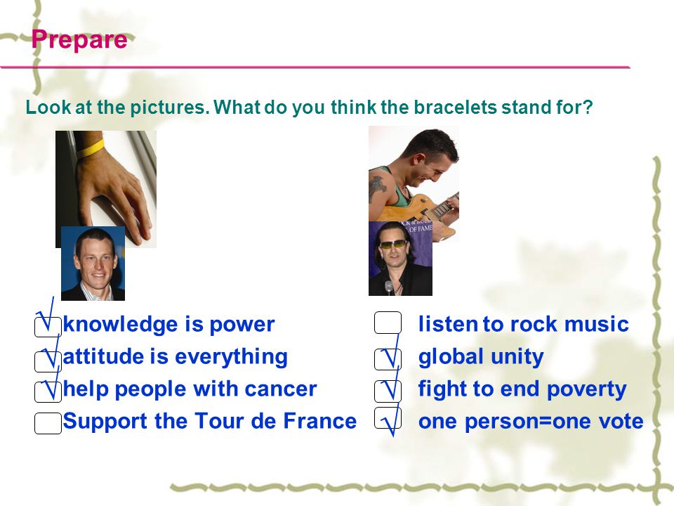 Prepare Look at the pictures. What do you think the bracelets stand for.
