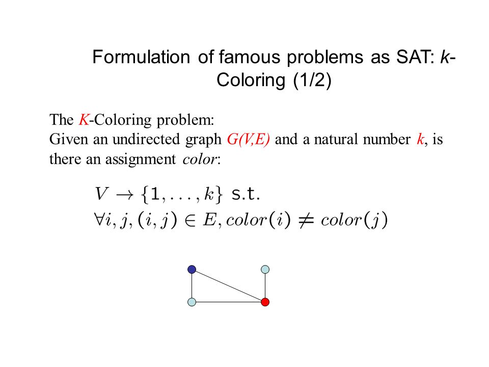 Formulation of famous problems as SAT: k- Coloring (2/2) x i,j = node i is assigned the 'color' j (1  i  n, 1  j  k) Constraints: i) At least one color to each node: (x 1,1  x 1,2  … x 1,k  …) ii) At most one color to each node: iii) Coloring constraints: for each i, j such that ( i, j ) 2 E:
