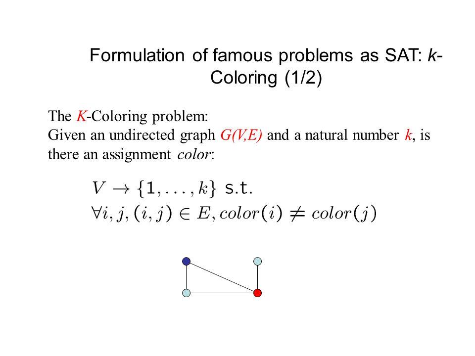 Backtracking Search in Action  1 = (x 2  x 3 )  2 = (  x 1   x 4 )  3 = (  x 2  x 4 )  4 = (  x 1  x 2   x 3 )  1 = (x 2  x 3 )  2 = (  x 1   x 4 )  3 = (  x 2  x 4 )  4 = (  x 1  x 2   x 3 ) Add a clause  x 4 = 0@1  x 2 = 0@1  x 3 = 1@1 conflict {(x 1,0), (x 2,0), (x 3,1)} x 2 x 2 = 0@2  x 3 = 1@2 x 1 = 0@1 x 1 x 1 = 1@1