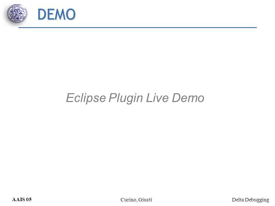 Delta Debugging AAIS 05 Curino, Giusti DEMO Eclipse Plugin Live Demo
