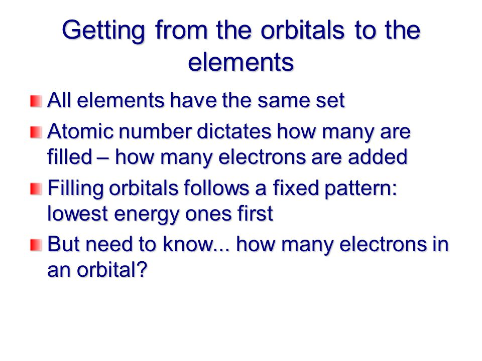 Getting from the orbitals to the elements All elements have the same set Atomic number dictates how many are filled – how many electrons are added Filling orbitals follows a fixed pattern: lowest energy ones first But need to know...